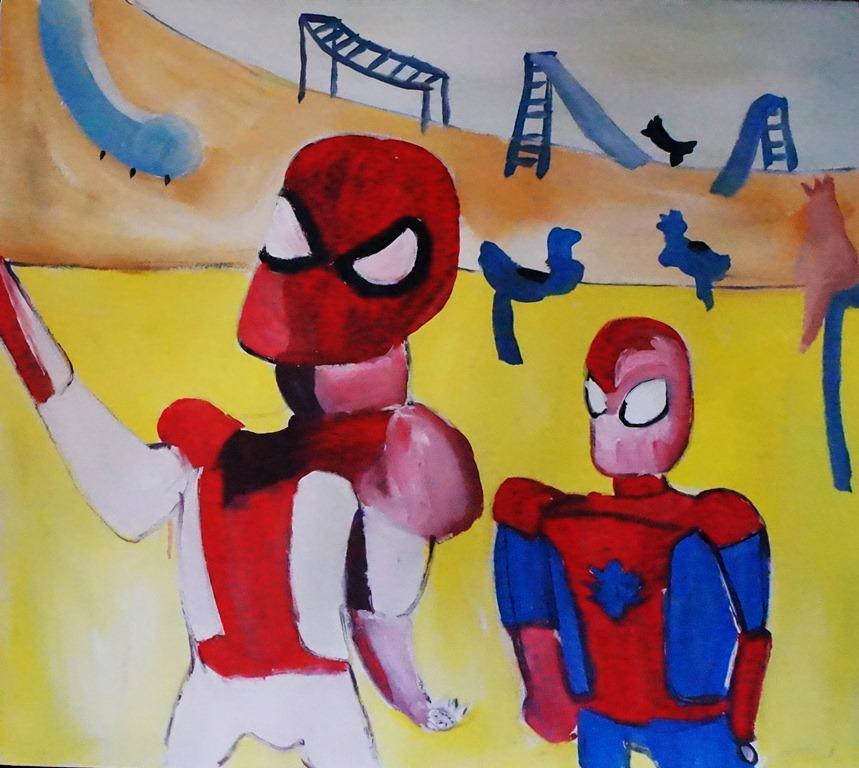 Su caricatura pintada en versión criolla del Spider-Man tiene que ver con sujetos que venden drogas en parques o calles del país. LAPRENSA/Arnulfo Agüero