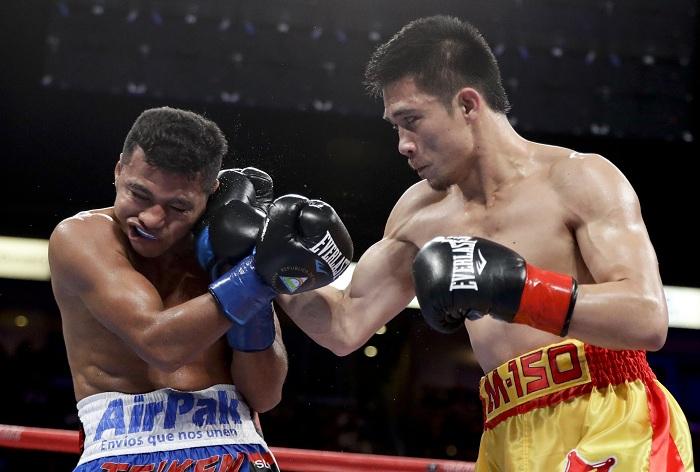 """Srisaket Sor Rungvisai dominó por completo el combate hasta noquear a """"Chocolatito"""" González. LA PRENSA/AP/Chris Carlson"""
