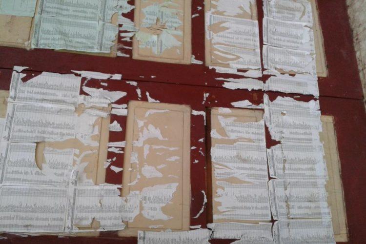 Rasgadas se encuentran las hojas del padrón electoral en el Instituto Central de Masaya.