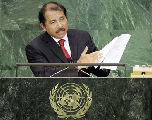 Daniel Ortega durante su único discurso ante la Asamblea General de la ONU, el 25 de septiembre de 2007. LA PRENSA/ AP