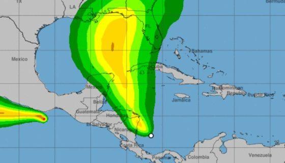 depresión tropical 16, nicaragua, alerta amarilla, alerta amarilla en nicaragua, lluvias, ineter