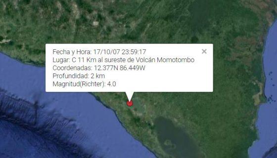 sismo, Nicaragua
