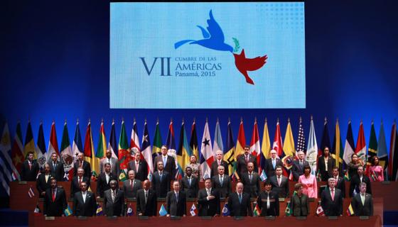 Vista general de los líderes y mandatarios americanos que asistieron a la inauguración a la VII Cumbre de las Américas. EFE/Mauricio Dueñas