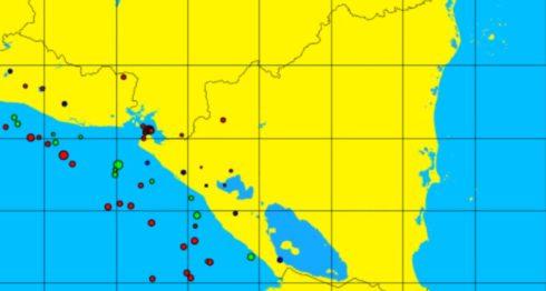 Los sismos en el Golfo de Fonseca iniciaron la noche de este sábado. LA PRENSA/ CAPTURA