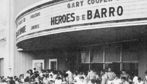 El Teatro Margot, en años sesenta, anunciaba en su cartelera la película Héroes de Barro, en la que actúan Gary Cooper, Rita Hayworth y Van Heflin.LA PRENSA/Archivo