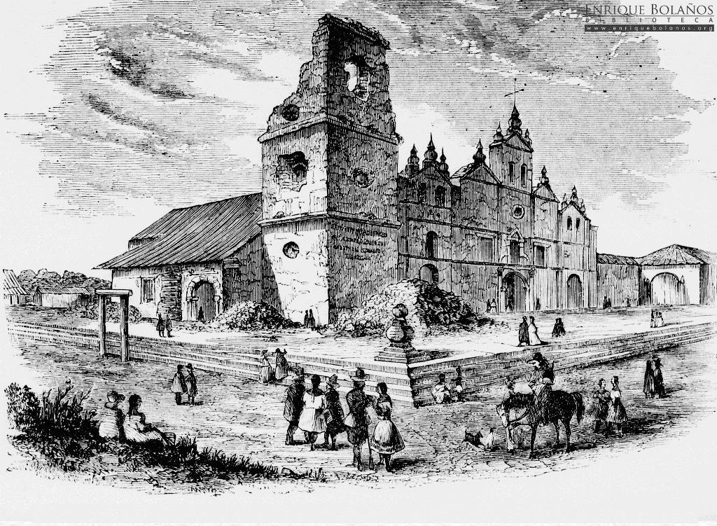 Máximo Jerez cañonea la antigua iglesia La Merced de Granada, en 1854.LA PRENSA/Cortesía/Fundación Bolaños Gayer