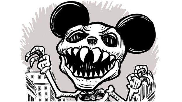 """Esta es la caricatura de Lalo Alcaraz sobre los deseos de Disney de registrar la marca """"Día de los Muertos"""". (Cortesía Lalo Alcaraz)"""