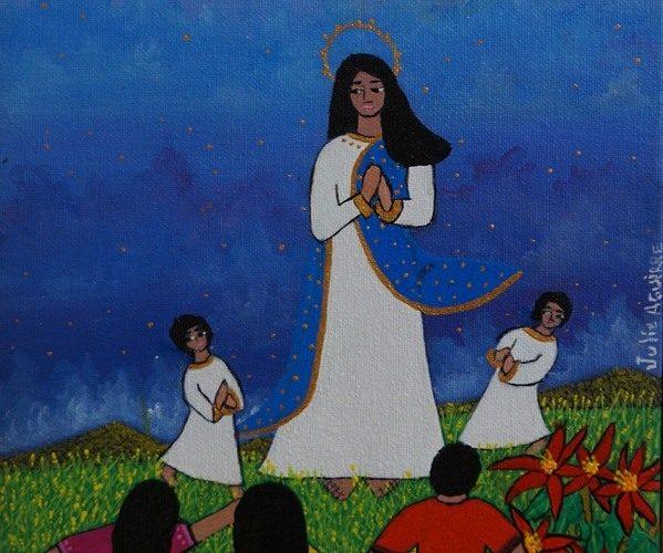 Virgen. Obra de la pintora Julie Aguirre. LA PRENSA/Arnulfo Agüero/Archivo