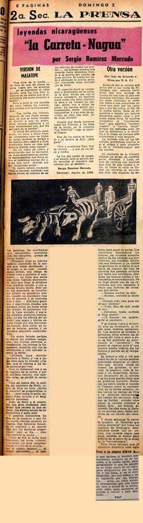 """""""la Carreta-Nahua"""", parimer cuento de Sergio Ramírez publicado en el Suplemento Dominical de LA PRENSA, un 2 de septiembre de 1956. LA PRENSA/Reproducción/ Wilmer López"""