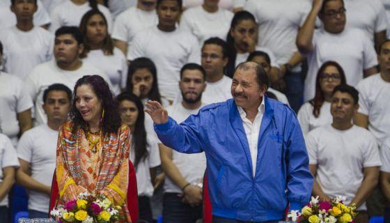 Daniel Ortega y Rosario Murillo durante la inauguración del Polideportivo Alexis Arguello en octubre de 2017. LA PRENSA/ EFE