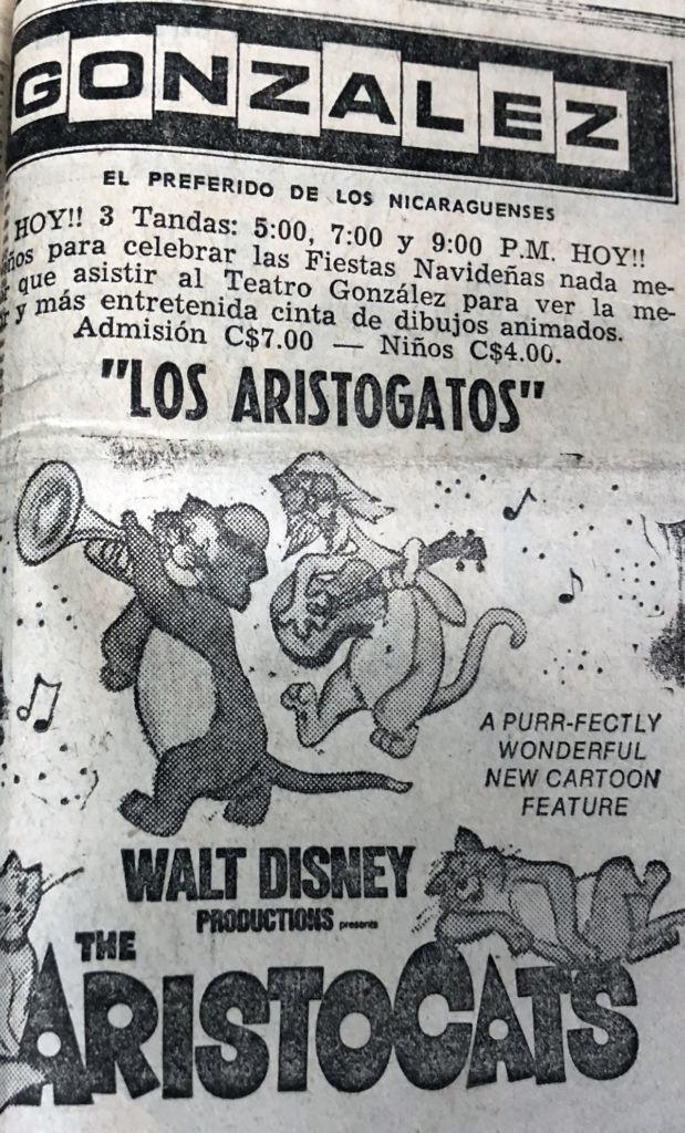 Anuncio de la película Los Aristogatos del Cine González en la última edición de LA PRENSA de 1972, el día 22 de diciembre. LA PRENSA / Reproducción