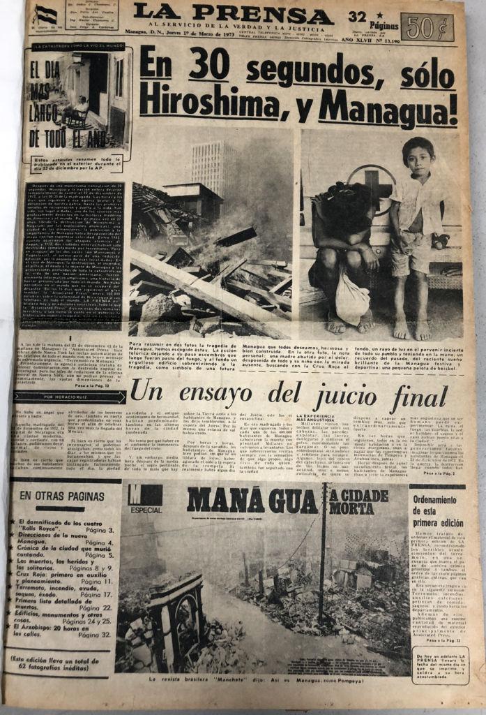 La primera edición del diario LA PRENSA de 1973 fue publicada el jueves 1 de marzo, cuando el periódico se repuso del colapso de su edificio en el centro histórico de Managua. LA PRENSA / Reproducción.