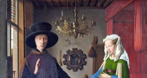 Retrato de Giovanni (?) Arnolfini y su esposa y 'El retrato de Arnolfini', pintado en 1434 por Jan van Eyck con oleo en roble, (82,2 x 60 cm) © The National Gallery, London
