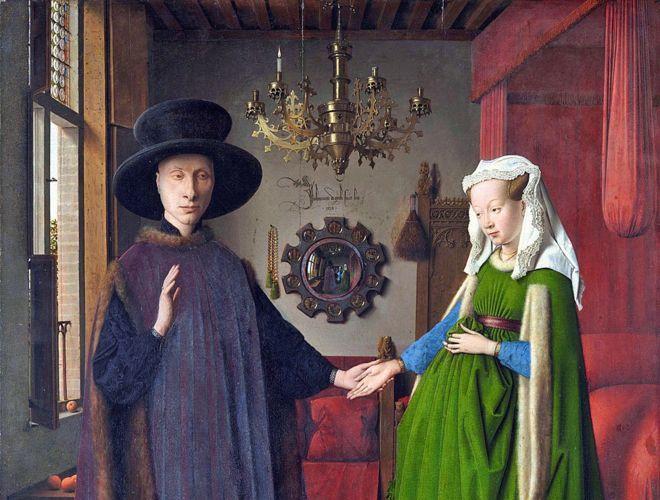Retrato de Giovanni (?) Arnolfini y su esposa y 'El retrato de Arnolfini', pintado en 1434 por Jan van Eyck con oleo en roble, (82,2 x 60 cm) © The National Gallery, London