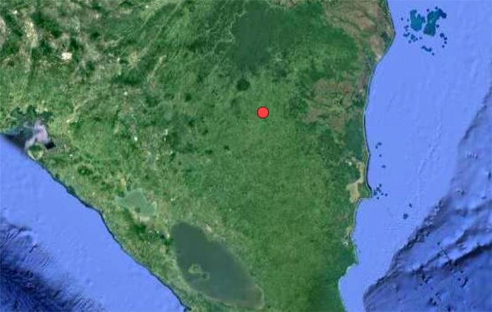 Imagen de la ubicación del sismo publicada en la página web del Ineter. LA PRENSA / Tomada del Ineter