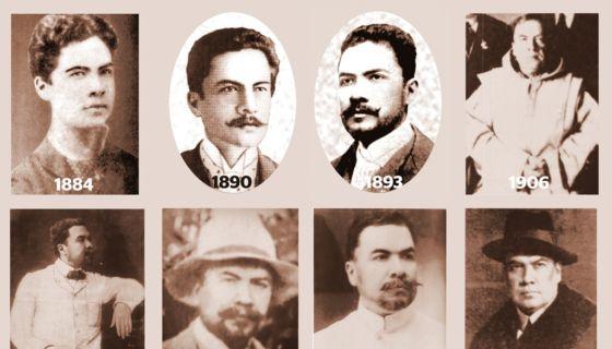 Retratos de Rubén Darío en diferentes momentos históricos de su vida, desde sus años de juventud en Nicaragua y de su madurez en otros países. LAPRENSA/Infografia/Luis Emilio González