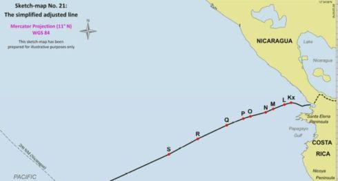 Esta es la frontera marítima que definió la CIJ en el Océano Pacífico. LA PRENSA/ CAPTURA