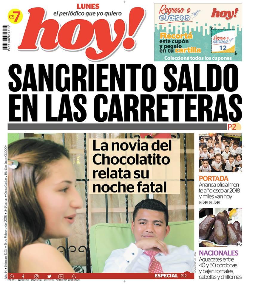 Esta es la primera portada del Periódico Hoy con renovada imagen. LA PRENSA/ CORTESÍA