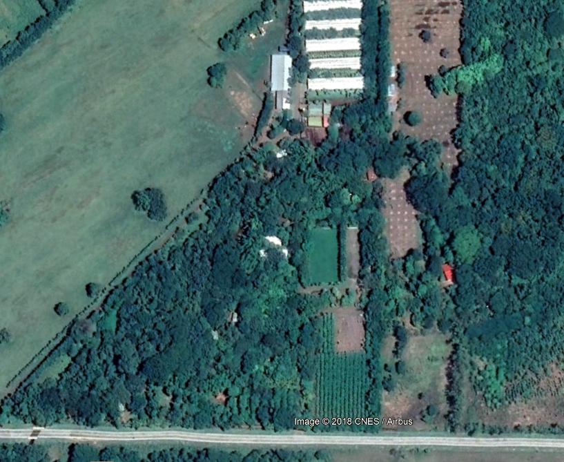 Imagen satelital de la finca de Chico López llamada La Sobriedad. Ubicada en el km 37 de la vieja carretera que une a Managua con León, esta propiedad de varias manzanas está al lado de Agro Tecnosa, empresa que también pertenece a Chico y su familia. LA PRENSA / Google Earth.