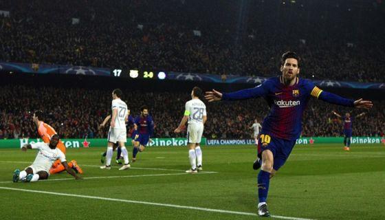 Lionel Messi llegó a 100 goles anotadas en la Champions League, con su doblete en el partido de vuelta que el Barcelona ganó al Chelsea en octavos de final. LA PRENSA/EFE/Enric Fontcuberta