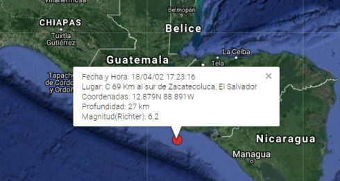 sismo en Nicaragua, temblor en Nicaragua
