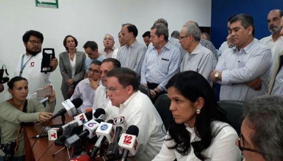 Líderes empresarios en conferencia de prensa llamaron a una marcha. LA PRENSA/ARCHIVO