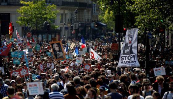 Emmanuel Macron, manifestaciones, Francia
