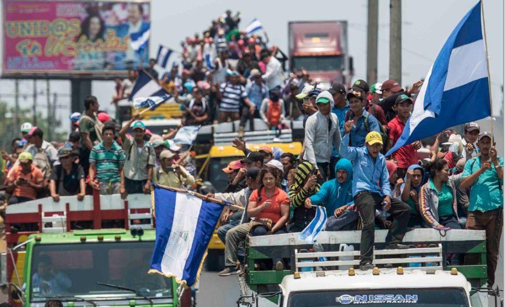 Esta es la segunda vez que los campesinos del movimiento anticanal llegan a Managua para marchar sin bloqueos de la Policía Nacional. LA PRENSA/ ÓSCAR NAVARRETE