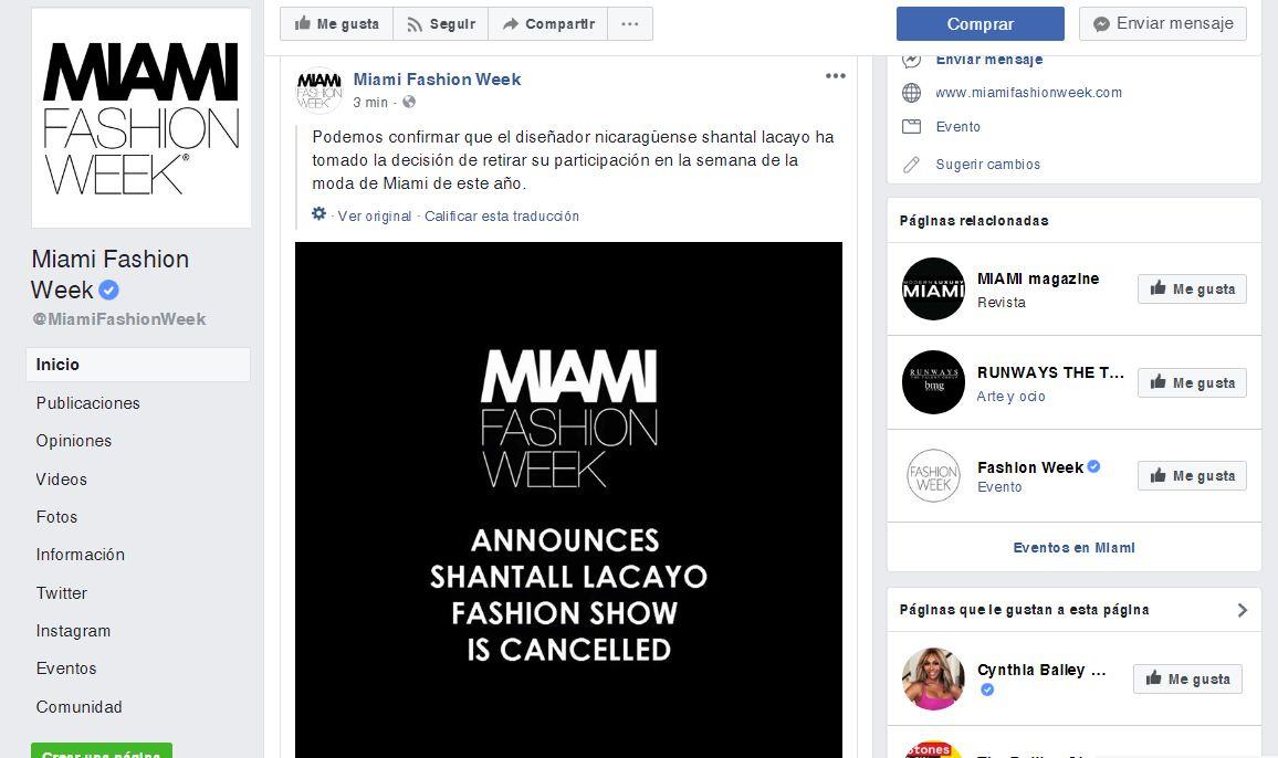Esta es la segunda publicación en la página oficial del Miami Fashion Week, donde informaron que la diseñadora decidió retirarse del evento. LA PRENSA/CAPTURA