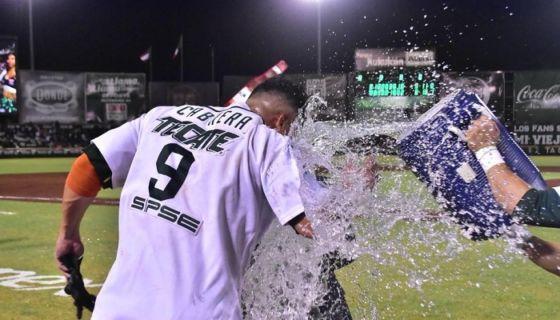 Everth Cabrera empujó la carrera del triunfo de los Leones de Yucatán en el segundo juego de la Final Sur de la Liga Mexicana de Beisbol. LA PRENSA/CORTESÍA