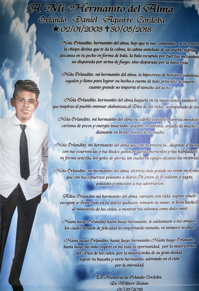 El poema que el amigo de Orlando Córdoba escribió por su muerte. LA PRENSA / Óscar Navarrete.