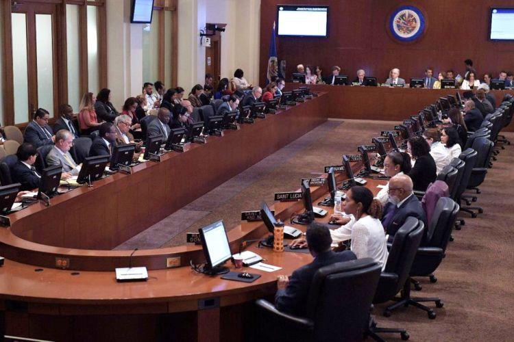 La sesión de la OEA donde se abordó la crisis en Nicaragua. LA PRENSA/ EFE
