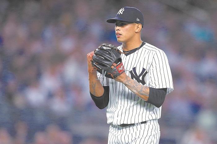 Jonathan Loáisiga recibió su primera llamado a las Grandes Ligas por parte de los Yanquis de Nueva York el pasado 15 de junio y ahora está en la lista de lesionados. LA PRENSA/AFP/Hunter Martin/Getty Images