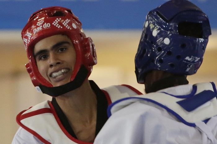 El nicaragüense Clark López participó en el taekwondo de los Juegos Centroamericanos y del Caribe de Barranquilla 2018. LA PRENSA/EFE/Ricardo Maldonado Rozo