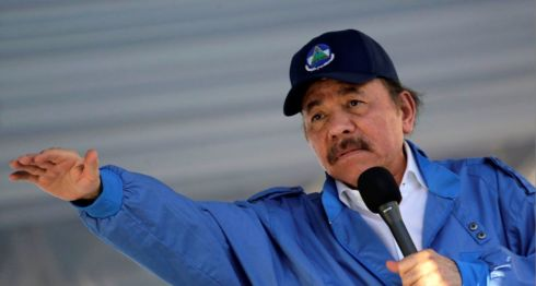 Daniel Ortega durante el acto de conmemoración de los 40 años del Asalto al Palacio Nacional. LA PRENSA/AFP