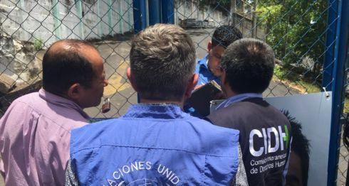Miembros del Mecanismo Especial de Seguimiento para Nicaragua (Meseni), de la CIDH en una visita a El Chipote. LA PRENSA/ CORTESÍA