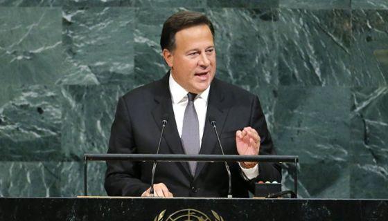 El presidente panameño, Juan Carlos Varela Rodríguez, al pronunciar su discurso durante el 73 período de sesiones de la Asamblea General de la ONU. LA PRENSA/ CORTESÍA
