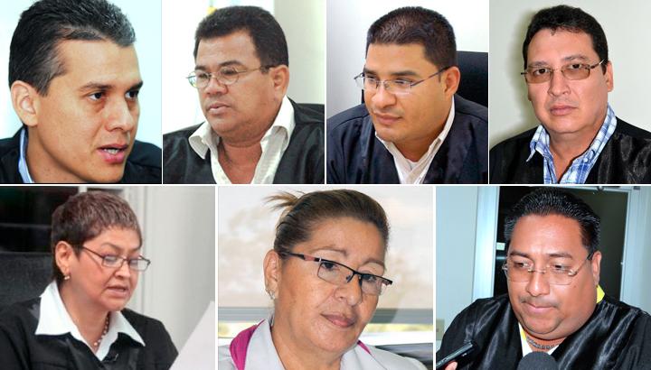 Los jueces orteguistas que se han encargado de condenar a los manifestantes contra la dictadura de Daniel Ortega. LA PRENSA/ ARCHIVO