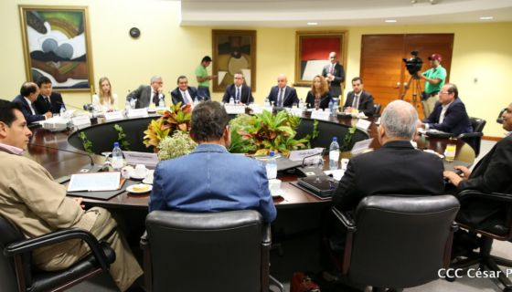 La primera reunión de la delegación del FMI se llevó a cabo en las instalaciones del Banco Central, a cuyo evento solo fueron invitados los medios del régimen. LA PRENSA/ TOMADA DE EL 19