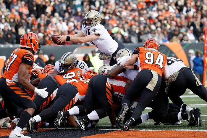 Drew Brees anotó en el tercer cuarto para los Saints de Nueva Orléans, que ganaron a los Bengals en Cincinnati. LA PRENSA/Joe Robbins/Getty Images/AFP