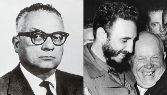 A la izquierda: Rómulo Betancourt, presidente de Venezuela entre 1959 to 1964. A la derecha: Fidel Castro y el premier soviético Nikita Khrushchev, en septiembre de 1960.Getty Images
