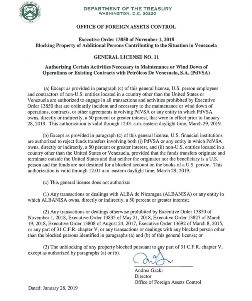 Este es el comunicado del Departamento del Tesoro de Estados Unidos sobre las operaciones de Albanisa. LA PRENSA/ CAPTURA