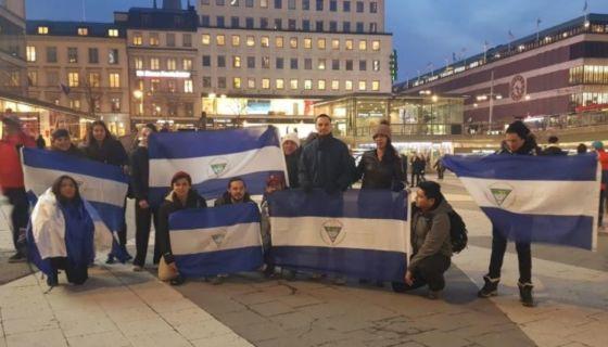 La manifestación de nicas en Estocolmo, Suecia. LA PRENSA/Cortesía/Engels López