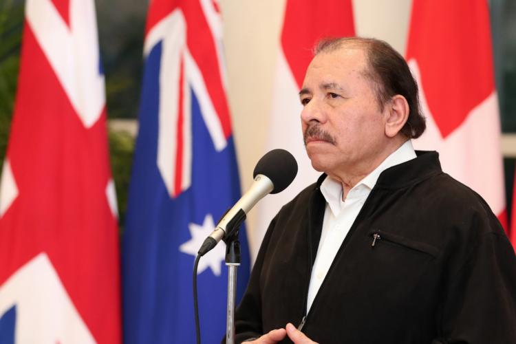 Daniel Ortega, dictador de Nicaragua, durante un evento con diplomáticos acreditados en el país en enero de 2019. LA PRENSA/ Tomada de El 19
