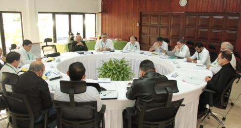 Estas son las primeras fotos de la mesa de negociación entre la Alianza Cívica y el gobierno de Daniel Ortega. Por la iglesia Católica sólo están presentes el cardenal Leopoldo Brenes y el Nuncio Apostólico Stanislaw Sommertag. LA PRENSA/ CORTESÍA ALIANZA CÍVICA
