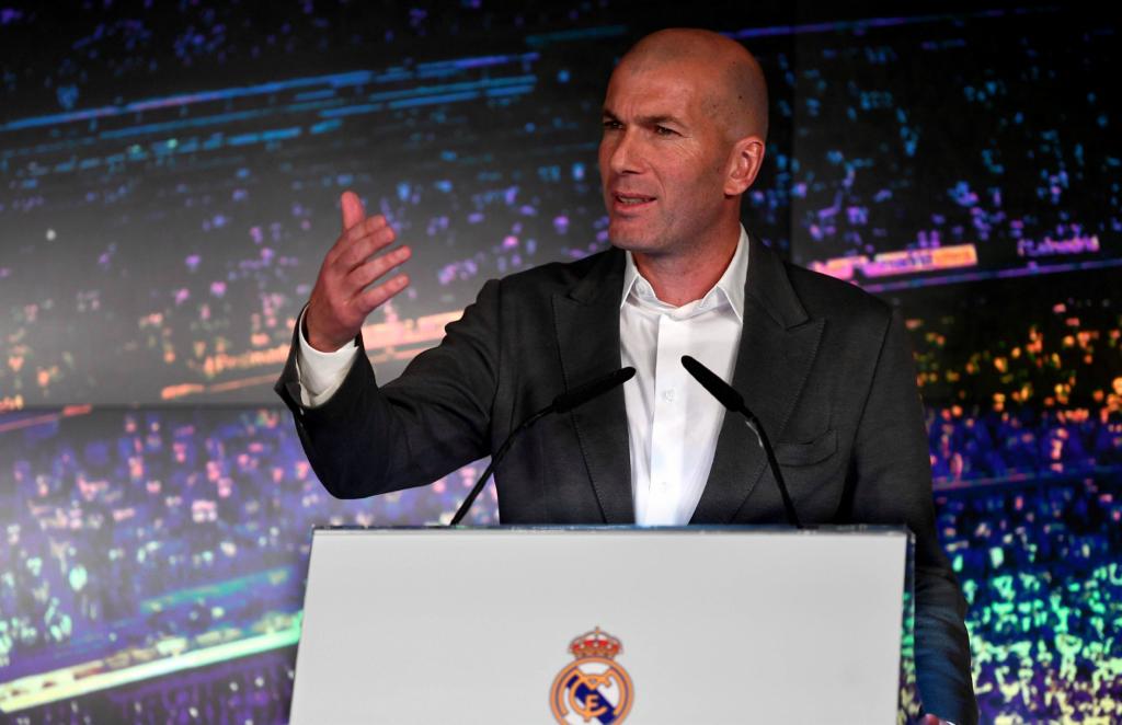 Zinedine Zidane durante su presentación oficial como nuevo entrenador del Real Madrid para 2019. LA PRENSA/ AFP