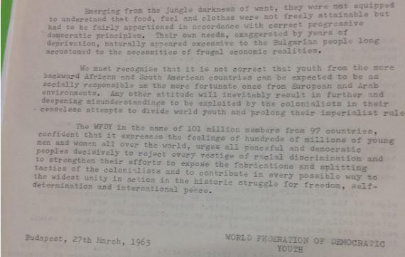 El IRD falsificó un comunicado de prensa para desacreditar a la Federación Mundial de la Juventud Democrática, respaldada por los comunistas. BBC