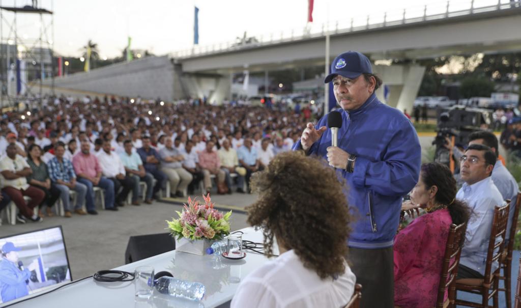 Daniel Ortega durante la inauguración del paso a desnivel del 7 Sur. LA PRENSA/ TOMADA DE EL 19
