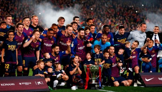 El Barcelona aseguró el título de la Liga española este sábado, al vencer al Levante. LA PRENSA/AFP