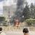 Encapuchados queman portón de la embajada de Estados Unidos en Honduras durante una protesta
